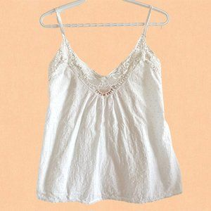 Papinelle white cotton camisole with lace detail